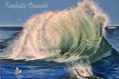 les oiseaux jouent sur la vague